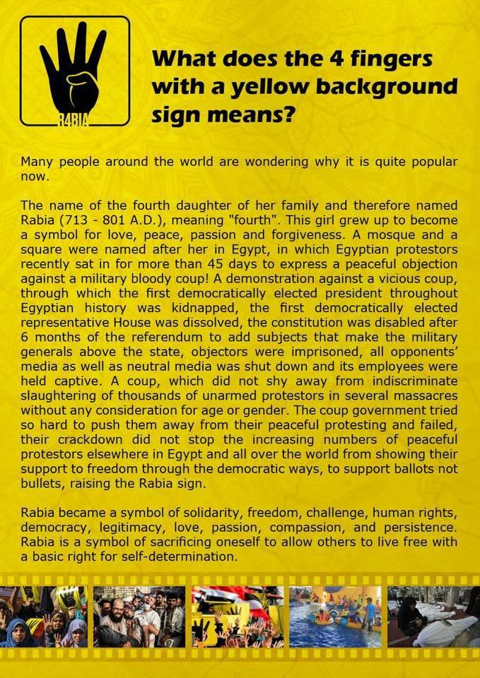 R4BIA - What does the 4 fingers with a yellow background sign mean